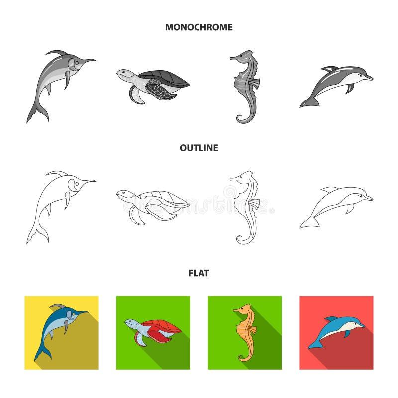 Merlin, sköldpadda och annan art Symboler för samling för havsdjur fastställda i lägenheten, översikt, monokromt materiel för sti vektor illustrationer