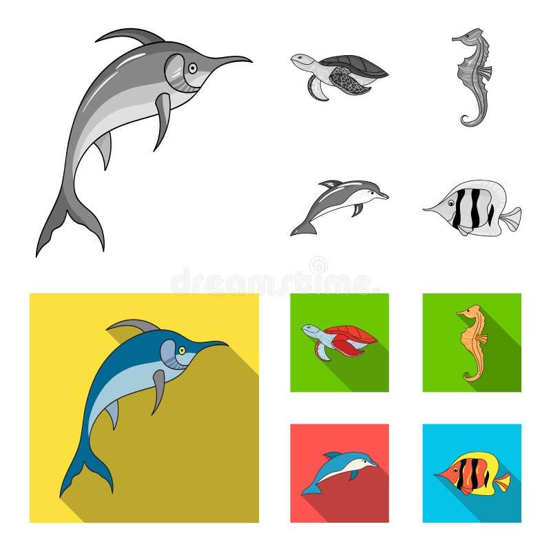 Merlin, sköldpadda och annan art Symboler för samling för havsdjur fastställda i monokrom, materiel för symbol för lägenhetstilve vektor illustrationer