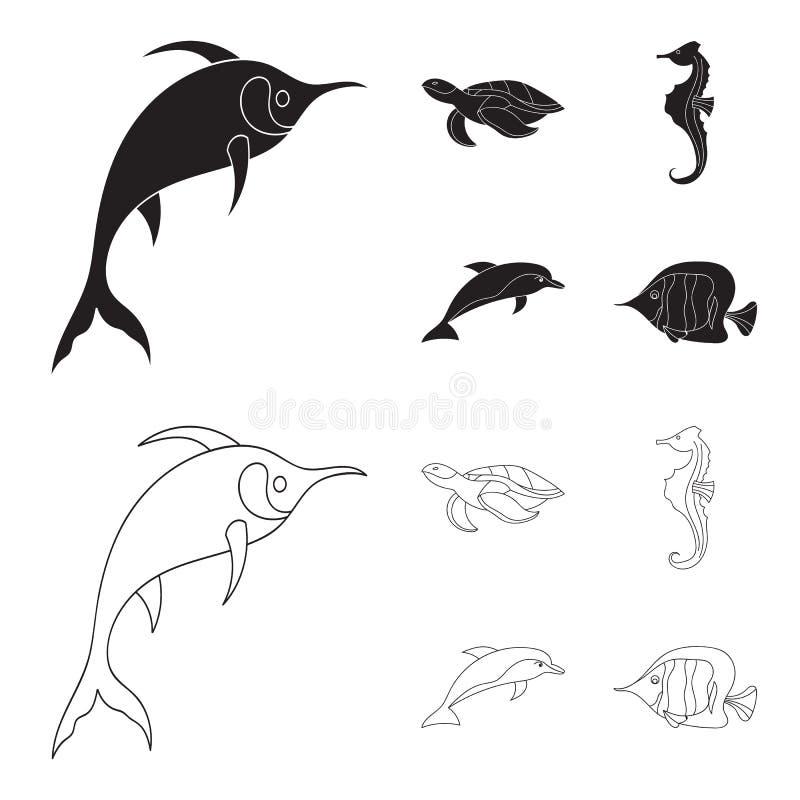 Merlin, sköldpadda och annan art Symboler för samling för havsdjur fastställda i svart, materiel för symbol för översiktsstilvekt stock illustrationer