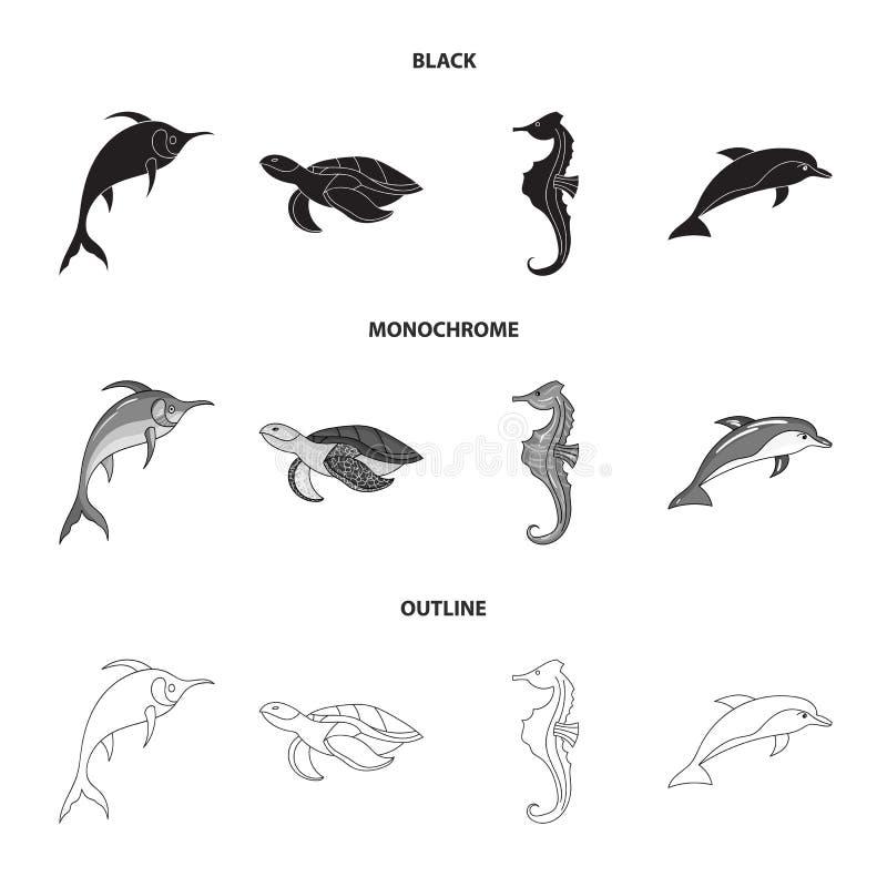 Merlin, sköldpadda och annan art Symboler för samling för havsdjur fastställda i svart, monokrom, materiel för symbol för översik royaltyfri illustrationer