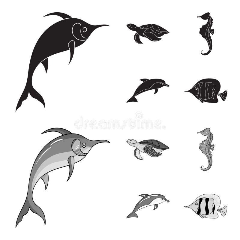 Merlin, sköldpadda och annan art Symboler för samling för havsdjur fastställda i svart, monokromt materiel för stilvektorsymbol stock illustrationer