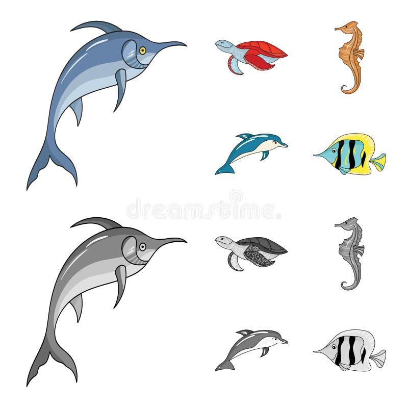 Merlin, sköldpadda och annan art Symboler för samling för havsdjur fastställda i tecknade filmen, monokromt materiel för stilvekt stock illustrationer