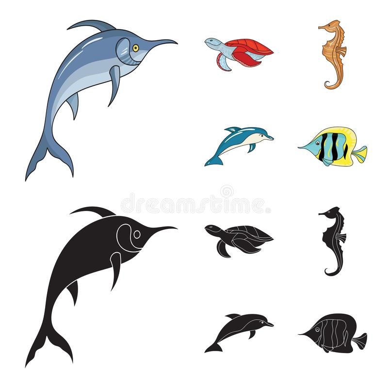 Merlin, sköldpadda och annan art Symboler för samling för havsdjur fastställda i tecknade filmen, svart materiel för stilvektorsy royaltyfri illustrationer