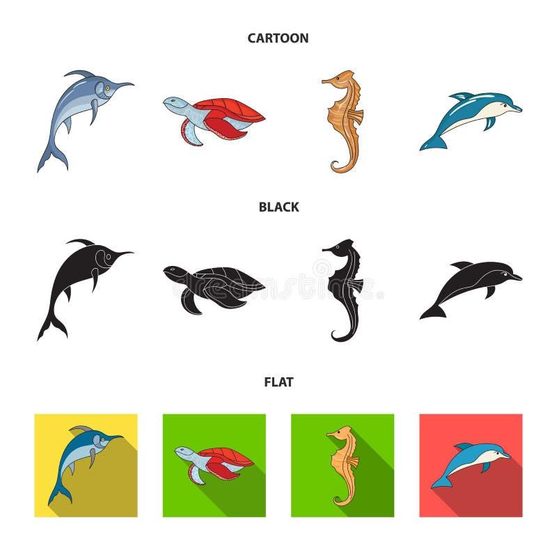 Merlin, sköldpadda och annan art Symboler för samling för havsdjur fastställda i tecknade filmen, svart, materiel för symbol för  royaltyfri illustrationer