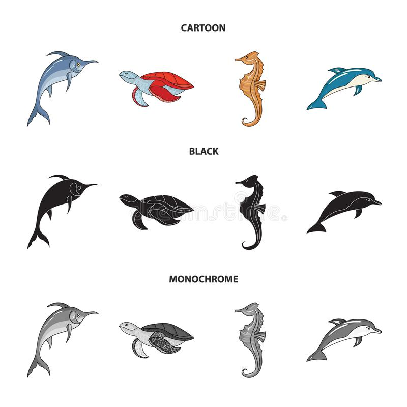 Merlin, sköldpadda och annan art Symboler för samling för havsdjur fastställda i tecknade filmen, svart, monokromt materiel för s vektor illustrationer