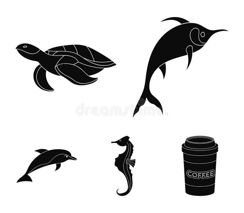 Merlin, sköldpadda och annan art Symboler för samling för havsdjur lagerför fastställda i svart stilvektorsymbol illustrationreng royaltyfri illustrationer