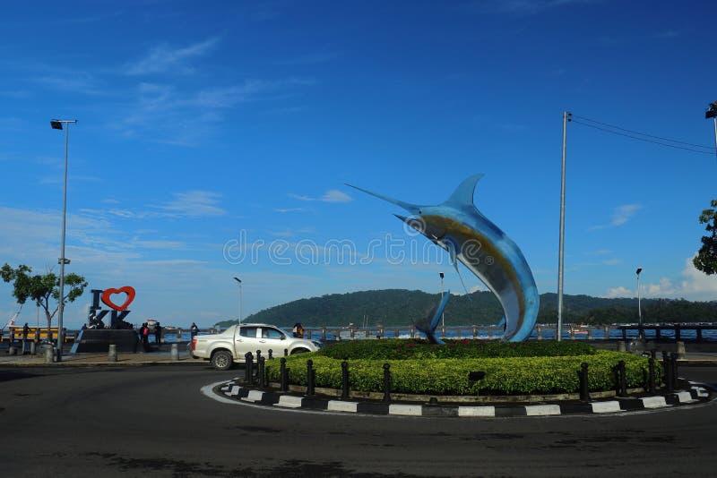The Merlin Statue, a famous landmark of Kota Kinabalu in Sabah, Malaysia. Kota Kinabalu, Sabah/Malaysia - December 21 2019 : The Merlin statue near Kota royalty free stock photography