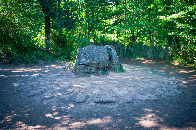 Merlinos grave. The supposed Merlinos grave in Paimpont forest, Normandy, France stock image