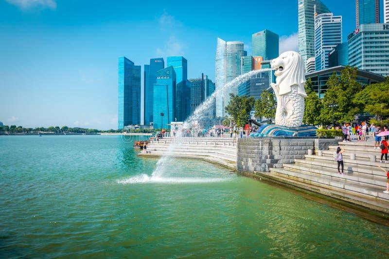 Merlion喷泉在新加坡 库存图片