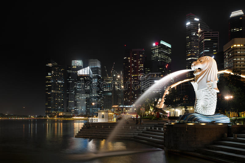 Merlion. Merlion fountain at night in Singapore stock photography