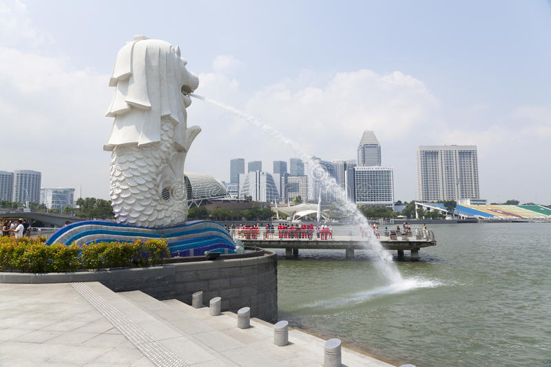 The Merlion fountain in Singapore stock photography