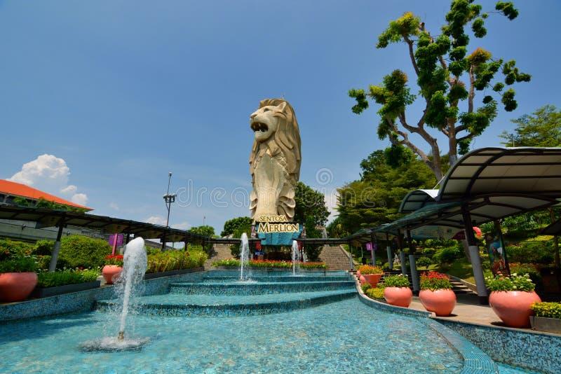 Merlion Ilha de Sentosa Cingapura fotografia de stock royalty free