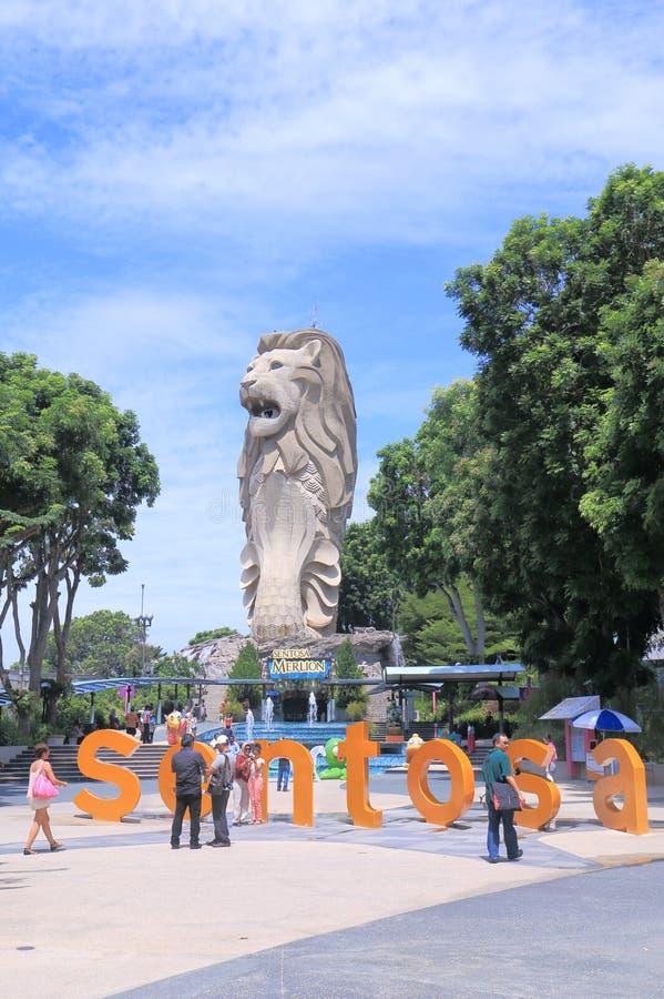 Merlion nell'isola Singapore di Sentosa immagine stock