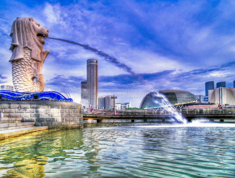 Merlion Park In The Morning Stock Photo