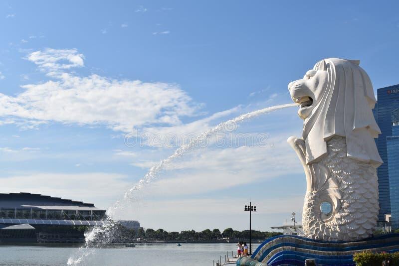 Merlion, punkt zwrotny Singapur obrazy royalty free