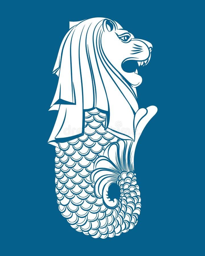 Merlion staty på blått stock illustrationer