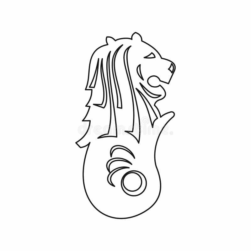Merlionstandbeeld, het pictogram van Singapore, overzichtsstijl vector illustratie