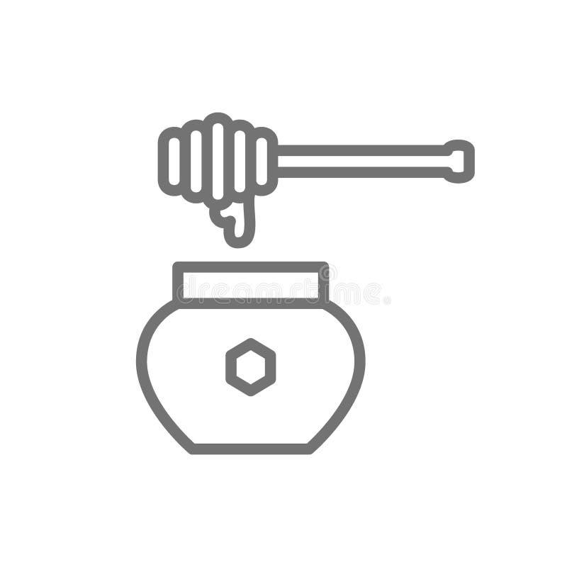 Merlo acquaiolo del miele con la linea icona del vaso Isolato su priorità bassa bianca illustrazione di stock