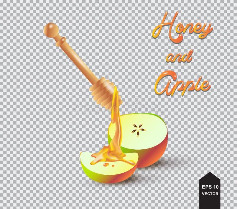 Merlo acquaiolo del miele, del miele e mela illustrazione di stock