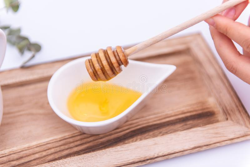 Merlo acquaiolo del miele in un destinatario bianco immagini stock