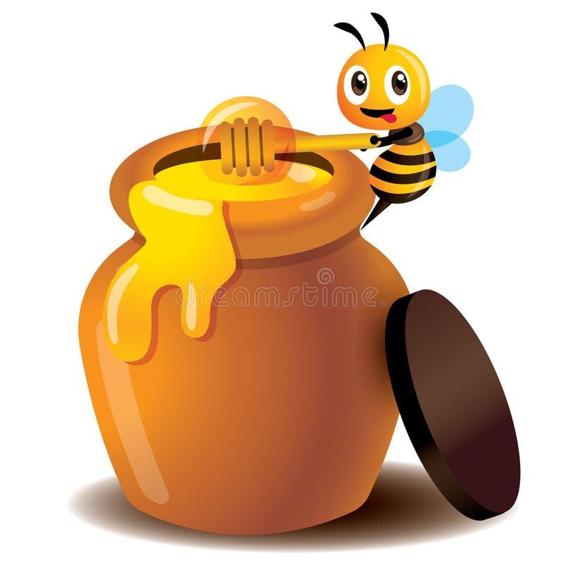 Merlo acquaiolo sveglio del miele di uso dell'ape del fumetto per prendere miele dal vaso del miele - vettore illustrazione di stock