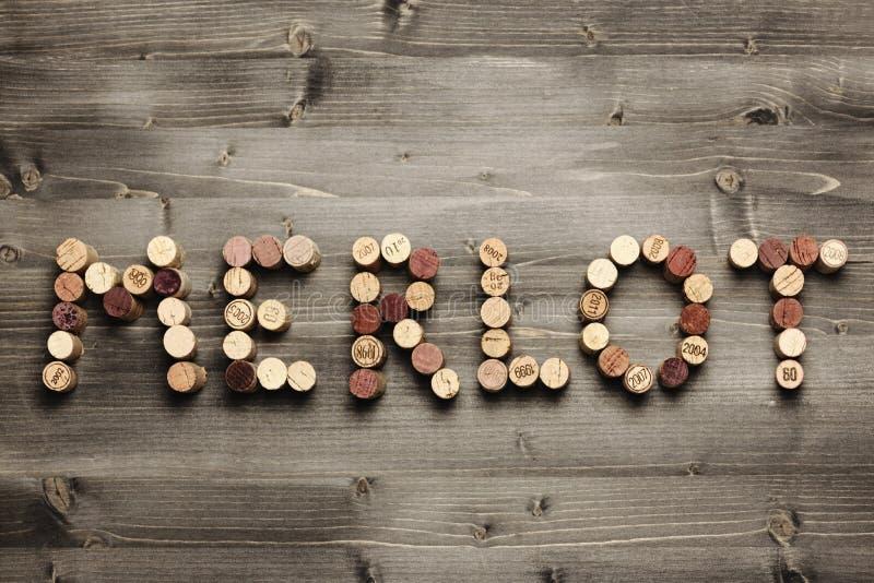 MERLOT escrito com cortiça fotografia de stock royalty free