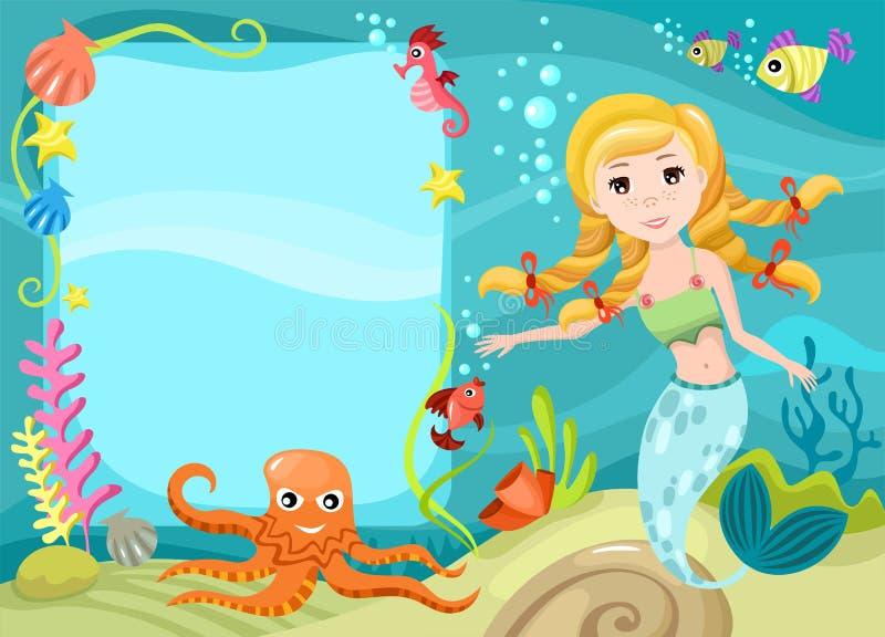 Mermaid. Vector illustration of a mermaid stock illustration