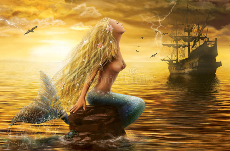 Sea Mermaid With Ghost Ship At Sunset Background Stock
