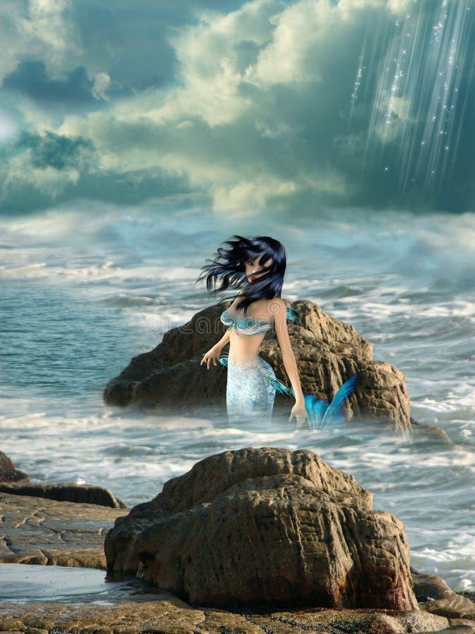 Mermaid. Beautiful mermaid in the magic coast royalty free stock image