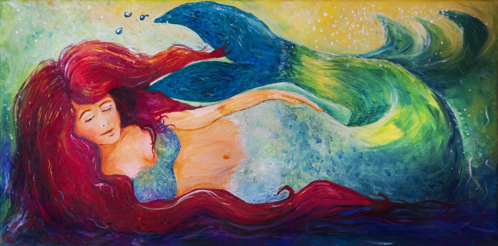 Mermaid. Acrylic on canvas art of a bright red haired mythical mermaid lounging in the waves