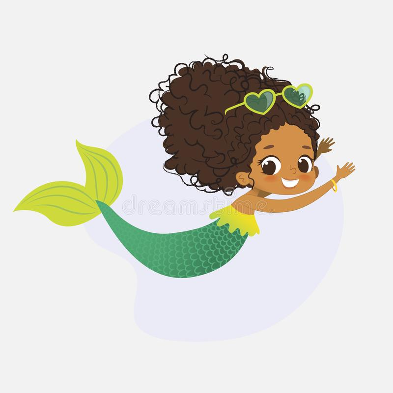 Mermaid African Character Mythical Cute Girl Nymph vector illustration