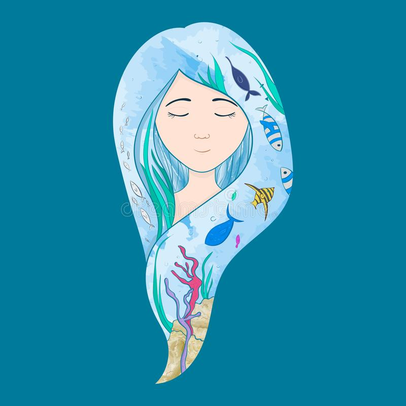 Marine illustration. Little cute cartoon mermaid, funny fish royalty free stock photos