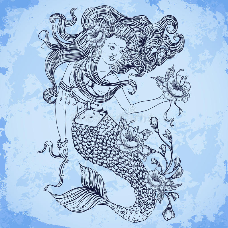 Mermaid with beautiful hair, flowers and buds. Tattoo art. Retro banner, invitation,card, scrap booking, t-shirt, bag, postcard,. Poster.Highly detailed hand stock illustration