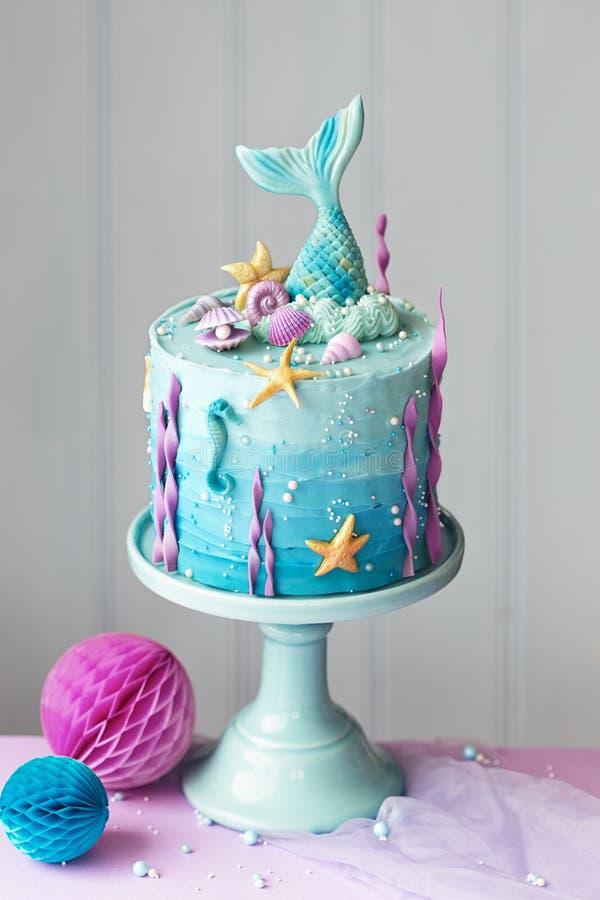Mermaid birthday cake royalty free stock images