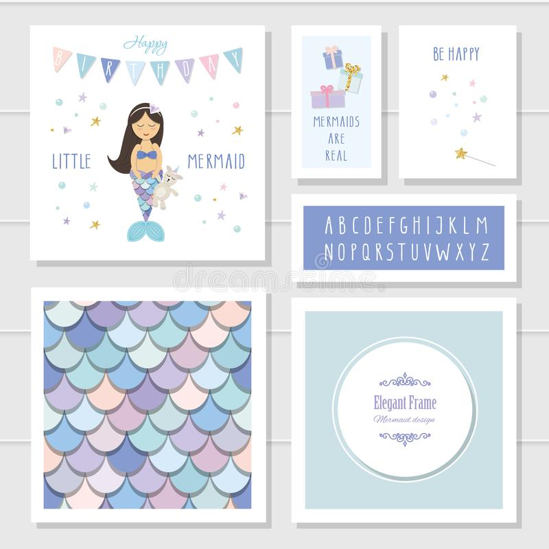 Mermaid birthday card templates set. Included fish skin seamless pattern and narrow hand drawn font. Vector stock illustration