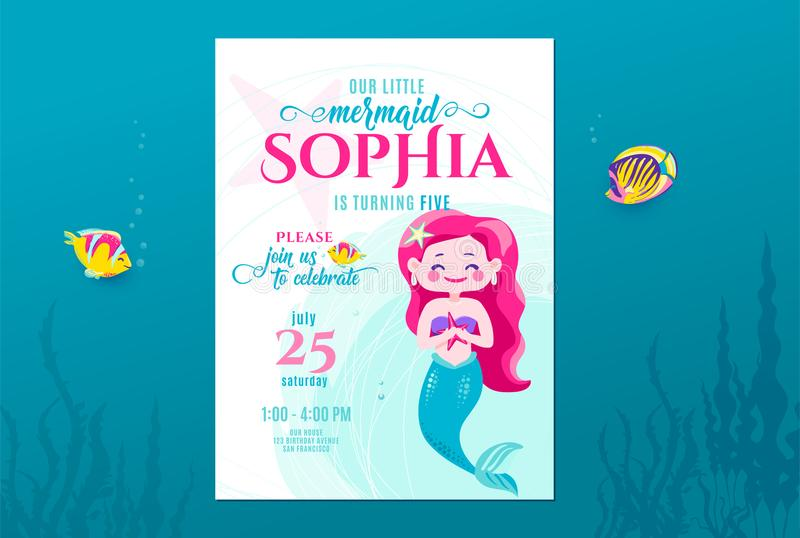 Mermaid birthday cute invite card design for little princess. Kids party anniversary. Sea underwater invitation vector illustration