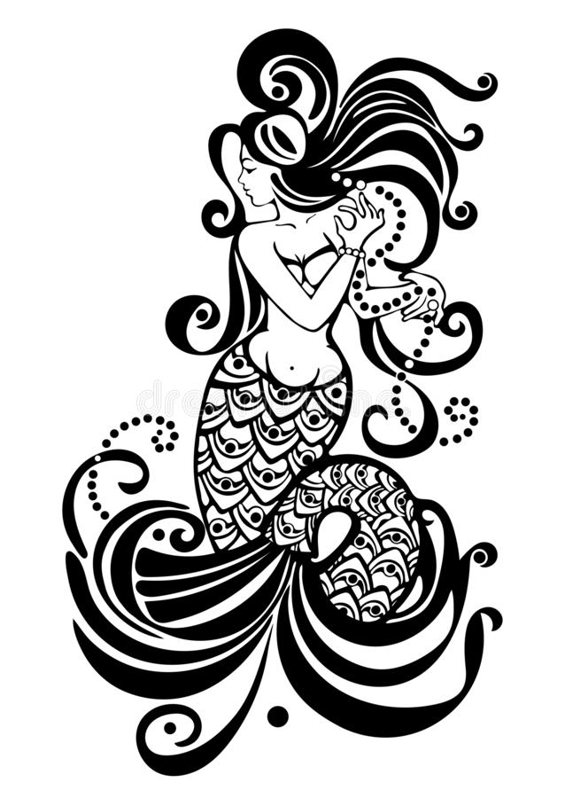 Mermaid black and white drawing, tattoo design, mythical girl with long hair, abstract print, coloring, vector illustration, eleme royalty free illustration