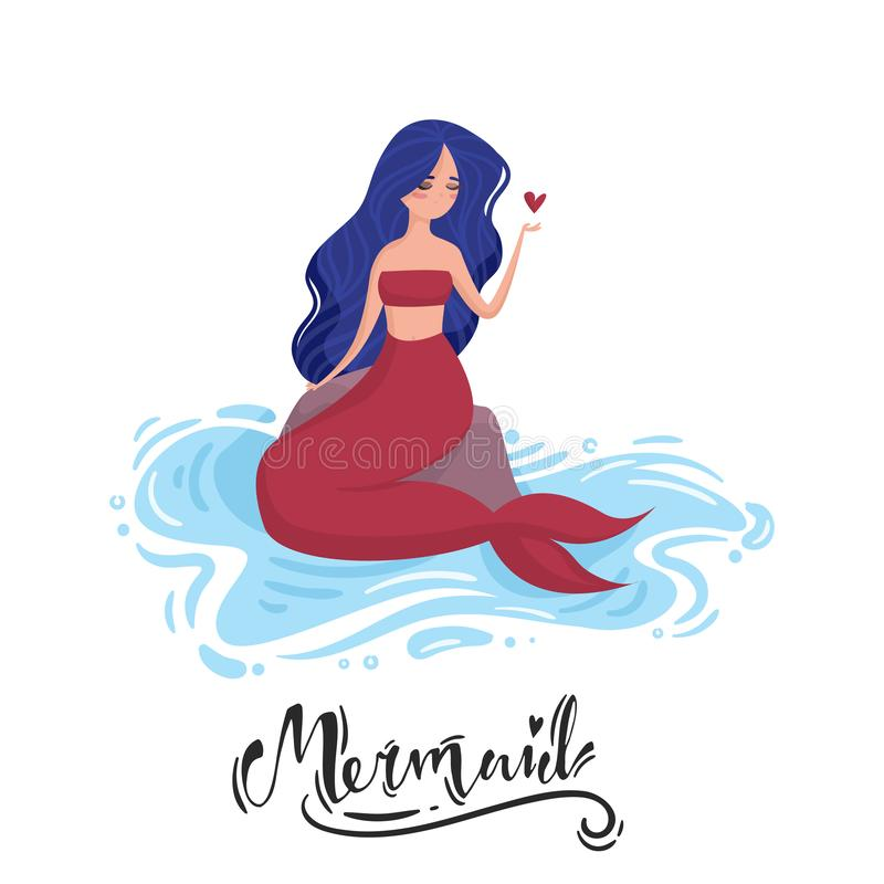 Mermaid with blue hair and red tail sits on a stone in the water and holding a heart. Lettering vector illustration