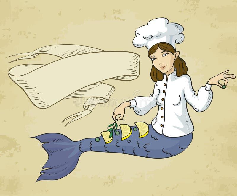 Download Mermaid chef stock image. Image of fish, characters, ribbon - 31642867