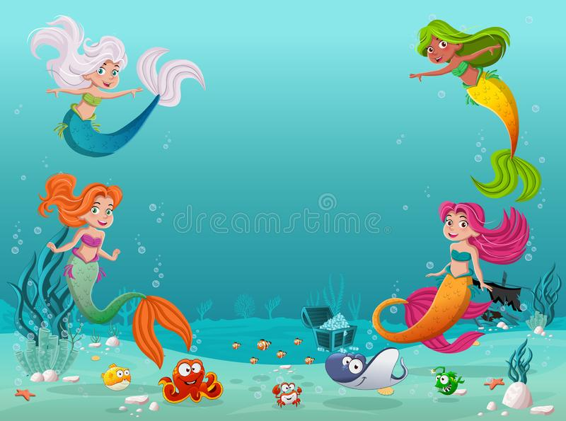 Mermaid children swimming with fish under the sea. Underwater world with corals. royalty free illustration