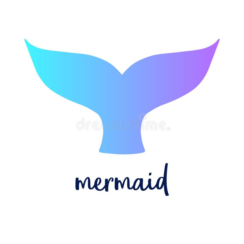 Mermaid colorful tail with writing stock illustration