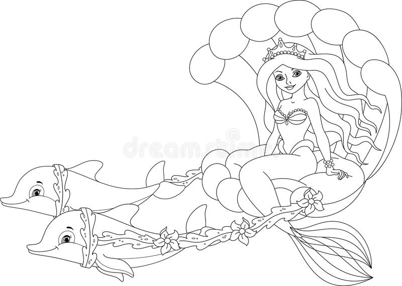 Download Mermaid Coloring Page Stock Vector