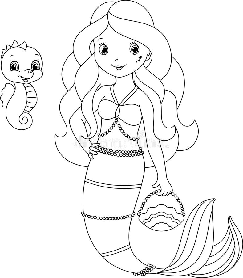 Mermaid coloring page stock vector. Illustration of cute ...