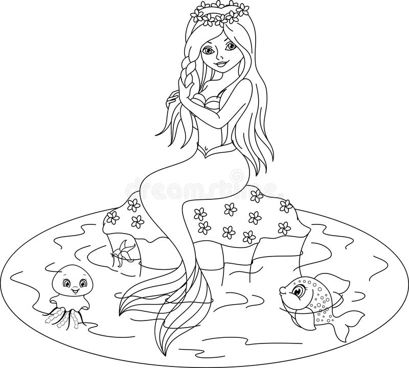 Mermaid coloring page stock vector. Illustration of fantasy - 61735713