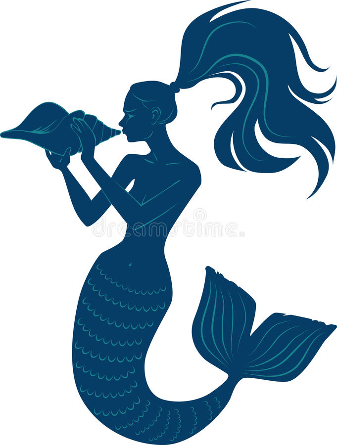 Mermaid with conch. Vector silhouette of a mermaid blowing a conch shell horn, EPS 8 vector illustration royalty free illustration
