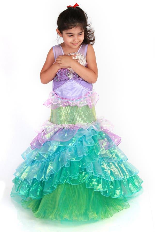 Mermaid costume. Little girl dressed as mermaid for halloween stock photography