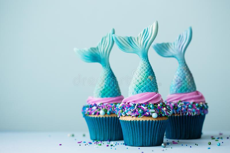Mermaid cupcakes royalty free stock images