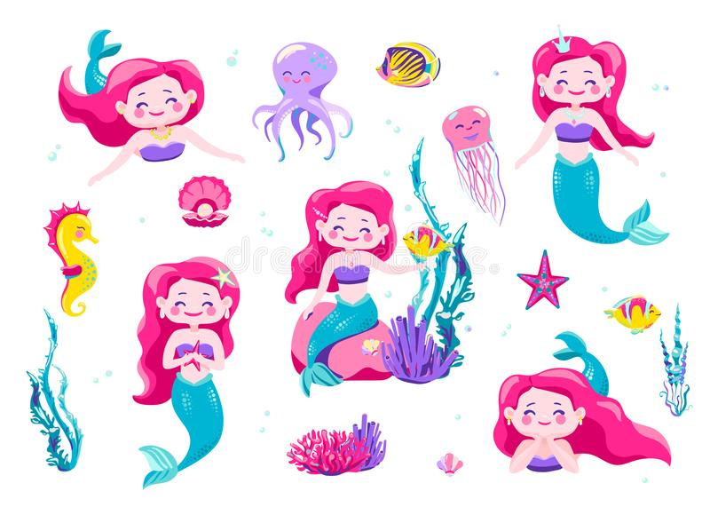 Mermaid cute stickers, cartoon little princess. Vector illustration. Fun sea character design isolated on white. Background. Cool hand drawn elements fish stock illustration