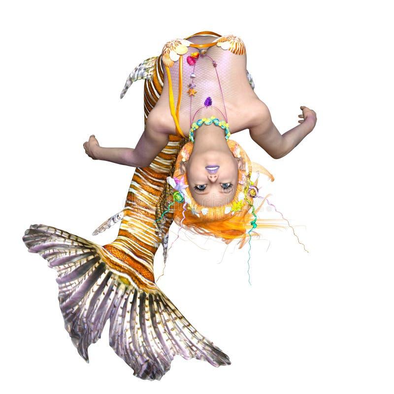 Blonde Hair Mermaid With Blue Tail Underwater Art: Mermaid Stock Illustrations