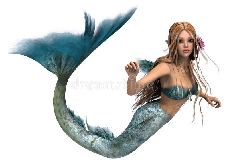 Mermaid. 3D digital render of a cute mermaid isolated on white background